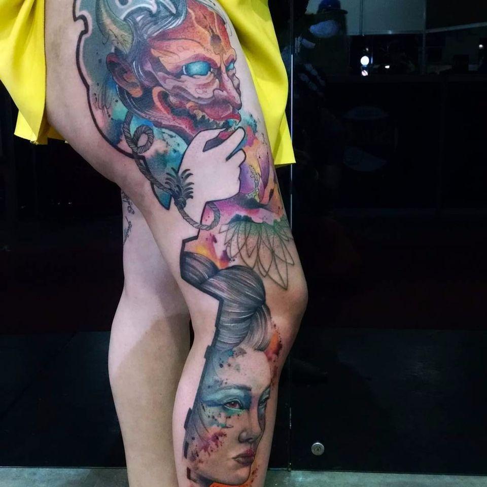 Trabalho do artista Samme Antunes! #SammeAntunes #tatuadoresbrasileiros #tatuadoresdobrasil #tattoobr #tattoodobr #hannya #gueixa #geisha #colorful
