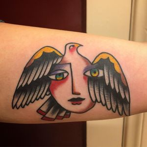 Bird inspired by Picasso tattoo by Jeff Sypherd #JeffSypherd #birdtattoos #color #traditional #abstract #cubist #Picasso #bird #feathers #wings #portrait #face #ladyhead #dove