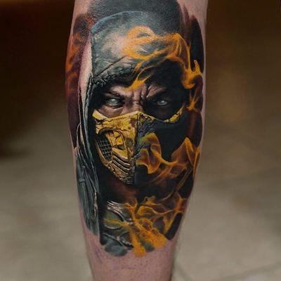 Denis Sivak's awesome color portrait of Scorpion (IG—sivak_). #color #DenisSivak #MortalKombat #realism #Scorpion
