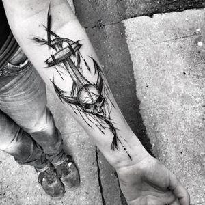 Anchor Skull Sketch Tattoo by Inez Janiak #anchor #anchortattoo #anchorsketchtattoo #sketch #sketchtattoo #sketchtattoos #blackwork #blackworktatoo #blackworksketch #graphicsketch #graphicblackwork #darktattoo #darkartists #InezJaniak