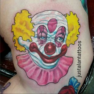 A killer clown from outer space by Just Alan (IG—justalantattoos). #color #JustAlan #KillerKlownsfromOuterSpace #realism #portraiture