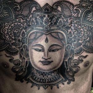 An incredibly intricate chest-piece from Jondix's portfolio (IG—jondix). #blackandgrey #Jondix #Vajrayana