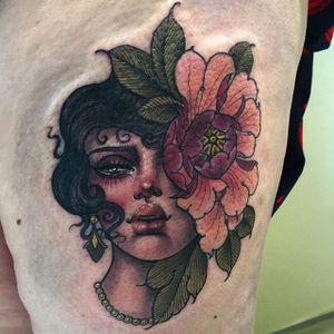 Peony woman via instagram hannahflowers_tattoos #flower #peony #woman #portrait #neotraditional #color #ladyhead #hannahflowers