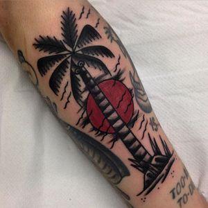 Palm Tree Tattoo by Paul King #palmtree #treetattoo #tropicaltattoo #traditionaltattoos #PaulKing