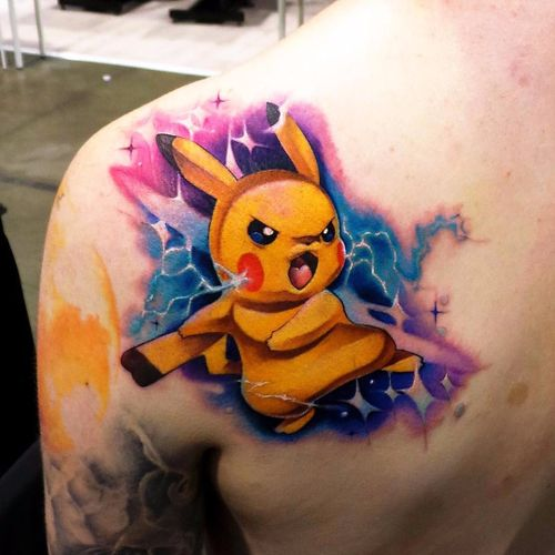 Por Steven Compton #StevenComptom #gringo #newschool #colorida #colorful #nerd #geek #Pikachu #pokemon #anime #desenho #animação #comics