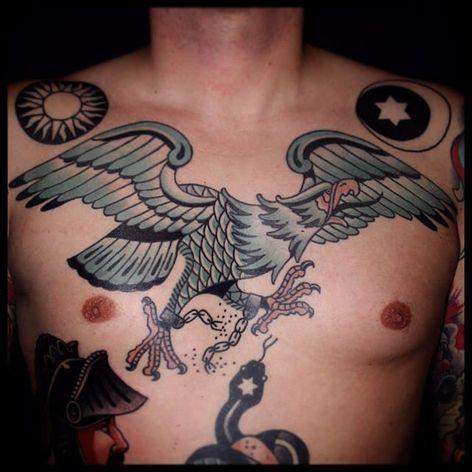 White Eagle Tattoo by Sebastian Domaschke #eagle #whiteeagle #traditional #neotraditional #bold #classic #oldschool #SebastianDomaschke #chest