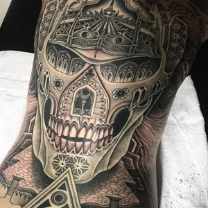 Geometric skull tattoo by Jondix #Jondix #blackandgrey #geometrictattoos #skull #cathedral #stainedglass #pattern #shapes #death #sacredgeometry #bones #hell #tattoooftheday