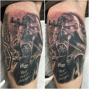 Brotherhood of Steel Tattoo by Sam Janbi #BrotherhoodOfSteel #BrotherhoodOfSteelTattoo #FalloutTattoos #FalloutTattoo #Fallout4 #Gaming #SanJanbi