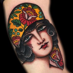 Hello lady by Becca Genné-Bacon #beccagennebacon #color #traditional #lady #ladyhead #portrait #face #flowers #scarf #floral #pattern #tattoooftheday