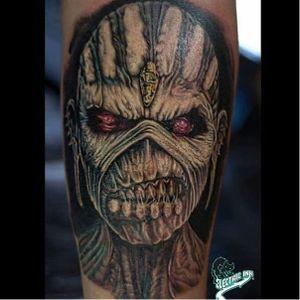 "Iron Maiden's ""Eddie the Head"" tattooed by Marcos Vinicius. (Via Instagram marcos_v.tattoo) #ironmaiden #eddie #metal #skull #powerslave"