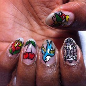 Traditional tattoos Nail Art #NailTattoo #NailArt #NailTattoos #TattooFashion #traditional