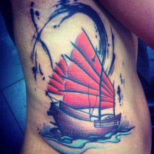 Junk Ship Tattoo by Paul Hallett #junkship #junkboat #junk #asianboat #chineseboat #chineseboats #chinesetattoo #PaulHallett