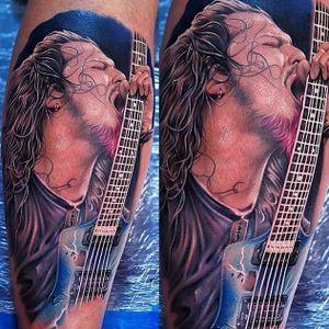 Dimebag by Khan Tattoo (via IG -- heavymetal.tattoos) #khantattoo #dimebag #dimebagtattoo #dimebagdarrell #dimebagdarrelltattoo #pantera #panteratattoo #cowboysfromhell