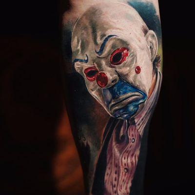 Masked Joker by Yomicoart #Yomicoart #joker #mask #clown #batman #realistic #realism #hyperrealism #portrait #color #tattoooftheday