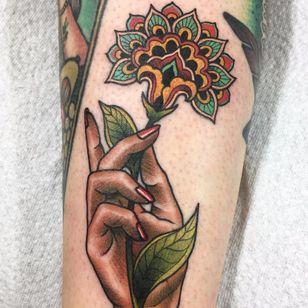 Mandala flower tattoo by Guen Douglas #GuenDouglas #neotraditional #color #flower #mandala #pattern #ornamental #hand #floral #leaves #nature #besttattoos #tattoooftheday