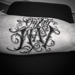 'On My Way' Lettering Tattoo by Rae Martini #letteringtattoo #letteringtattoos #lettering #script #scripttattoos #scripttattoo #letteringinspiration #scriptinspiration #letteringartists #fonttattoos #RaeMartini