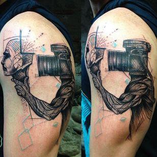 Photography tattoo by Mo Mori. #photography #camera #photo #photographer #contemporaryart #MoMori