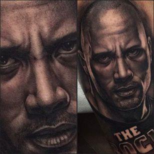 Super cool portrait tattoo of Dwayne THE ROCK Johnson! Tattoo by Juande Gambin. #juandegambin #portraittattoos #therock #dwaynejohnson