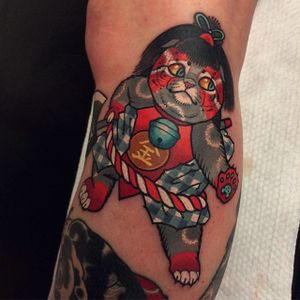 Neotraditional cat tattoo by Young Woong Han. #YoungWoongHan #neotraditional #cat #cattattoo #neo #neko