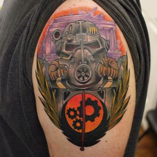 Brotherhood of Steel Tattoo by Simeon Nelson #BrotherhoodOfSteel #BrotherhoodOfSteelTattoo #FalloutTattoos #FalloutTattoo #Fallout4 #Gaming #SimeonNelson