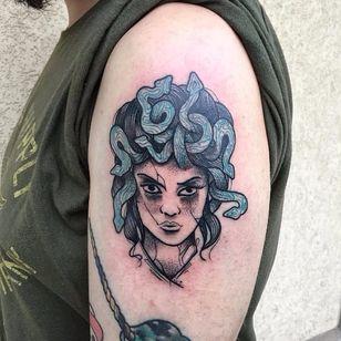 Medusa tattoo by Bombayfoor #Bombayfoor #sketch #sketchstyle #illustrative #surrealistic #medusa #dotwork #snakes