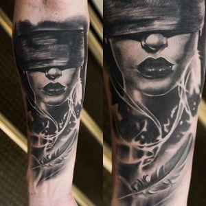 Healed blindfolded woman by Chris Block. #healed #blackandgrey #realism #woman #blindfold #feather #ChrisBlock