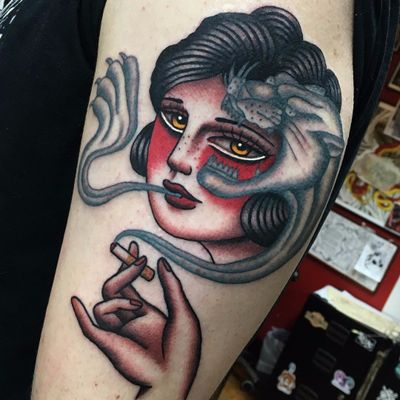 Man Eater by Danielle Rose #DanielleRose #color #blackandgrey #traditional #ladyhead #smoking #cigarette #panther #cat #smoke #lady #hand #junglecat #tattoooftheday