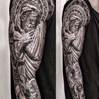 A sleeve full of Christian imagery by Lil B (IG—lilb_tattoos). #angel #blackandgrey #Christian #God #LilB #realism #religious