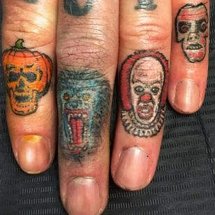 Horror finger tattoos by Allan Graves #AllanGraves #haunted #horror #halloween #pumpkin