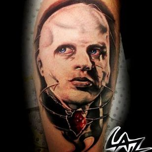 The iconic female cenobite from the first Hellraiser movie tattoo by Laz #hellraiser #CliveBarker #cenobite #horror #movie #FemaleCenobite #Laz