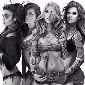 Tattooed beauties by David Garcia #DavidGarcia #art #realistic #chicano #tattooedladies