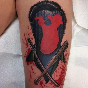 Lucille Tattoo by Mike Beecher #lucille #walkingdead #thewalkingdead #negan #baseballbat #bat #walkingdeadnegan #MikeBeecher