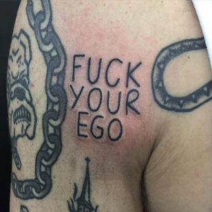 Fuck your Ego Tattoo by Jack Watts @Tattoosforyourenemies #Tattoosforyourenemies #sangbleu #london #black #blackwork #traditional #fuckyourego