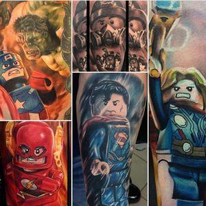 A collage of Max Pniewski's (maxpniewski) awesome Marvel and DC Lego tattoos. #CaptainAmerica #comicbooks #Flash #Legos #MaxPniewski #superheroes #Superman #Thor