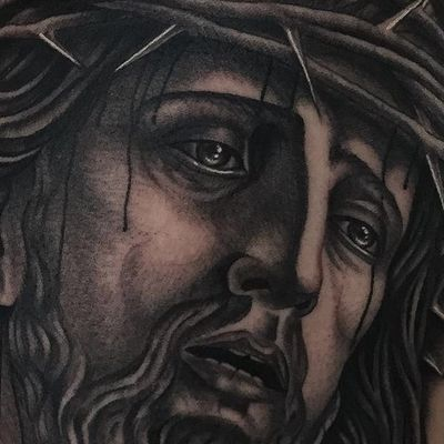 Details... Religious tattoo made by Javier Betancourt. (IG - javierbetancourt) #SESSIONS #JavierBetancourt #Jesus #religioustattoo #blackandgrey #traditionaltattoo