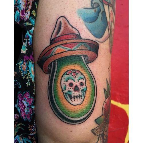 La Avocado, by Mauricio Pastor #MauricioPastor #avocado #skull #mexican #guacamole