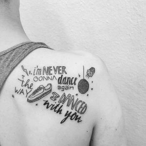I'm never gonna dance again / the way I danced with you(via IG—bearbear_ink) #GeorgeMichael #Pride #LGBT #PrideTattoos #MusicTattoo