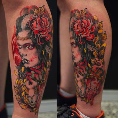 Por Nicolas Marrez! #TatuadoresBrasileiros #Tatuadoresdobrasil #tattoobr #tattoodobr #Curitiba #vampire #woman #neotrad #neotradicional #neotraditional #newtraditional