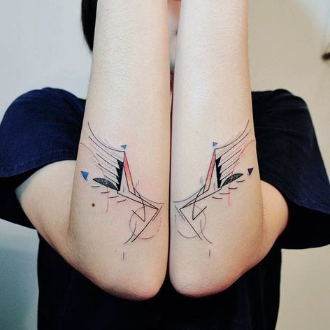 Geometric semi-abstract wings tattoo by Hill. #Hill #HillTattoo #geometric #semiabstract #wings