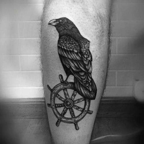 #BruscioPrado #corvo #crow #timão #navio #blackwork #tatuadoresbrasil #tatuadoresbrasileiros #tatuadoresbr #pontilhismo