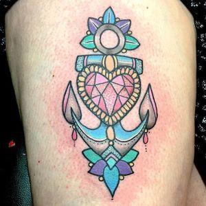 Heart and anchor tattoo by Caroline Derwent. #pastel #anchor #heart #gem #traditional #CarolineDerwent