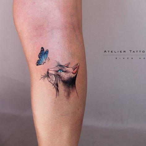 Gatinho e borboleta por Marcelo Ret! #MarceloRet #TatuadoresBrasileiros #TatuadoresdoBrasil #TattooBr #TattoodoBr #cat #gato #butterfly #borboleta