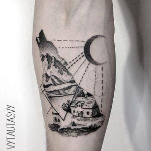 Wolf tattoo by Vytautas Vy. #VytautasVy #blackwork #overlay #geometric #dotwork