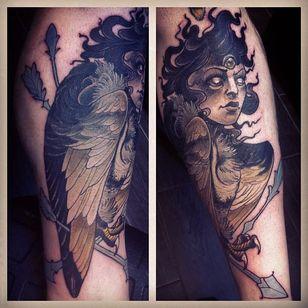 Harpy Tattoo by Tiny Miss Becca #Harpy #Harpies #HarpyTattoo #MythologyTattoos #GreekTattoos #MythTattoos #Traditional #TinyMissBecca