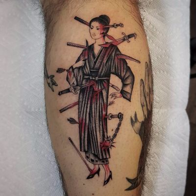Wounded Onna-bugeisha by Antoine Gaumont #AntoineGaumont #blackwork #redink #blood #machete #wounds #knives #arrow #sword #onnabugeisha #Japanese #warrior #lady #samurai #tattoooftheday