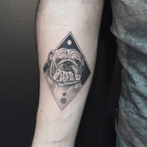 Bulldog tattoo by Fillipe Pacheco #FillipePacheco #miniature #blackandgrey #monochrome #realistic #landscape #dog #bulldog
