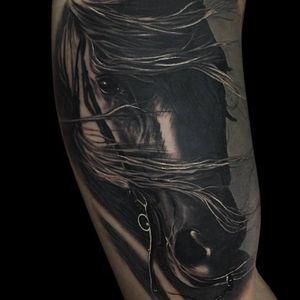 Horse tattoo by Jumilla Olivares #JumillaOlivares #blackandgrey #realistic #horse #dark