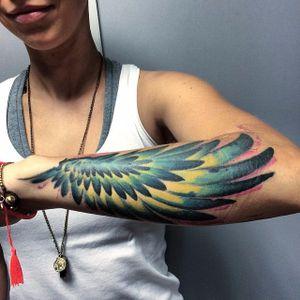 Wing tattoo by Szejn Szejnowski @szejno #wing #wingtattoo #graphic