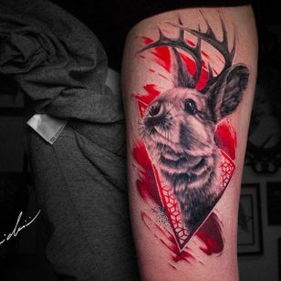 Horned rabbit tattoo by Michael Cloutier @cloutiermichael #Michaelcloutier #blackandgrey #blackandgray #blackandred #black #red #trashpolka #realism #rabbit