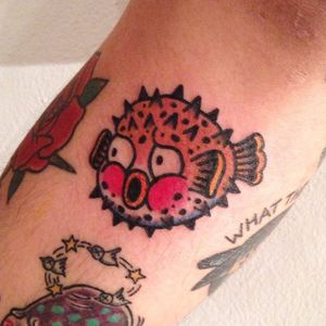 Pufferfish Tattoo, artist unknown #pufferfish #fish #sealife